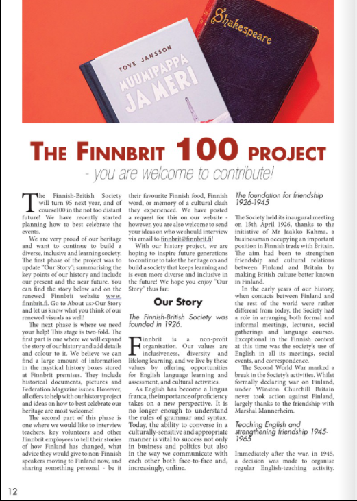 The Finnbrit 100 Project