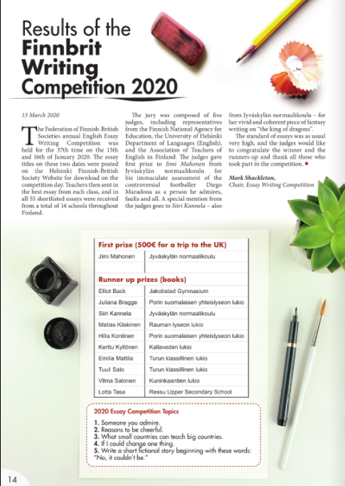 Result of the Finnbrit Writing Competition 2020